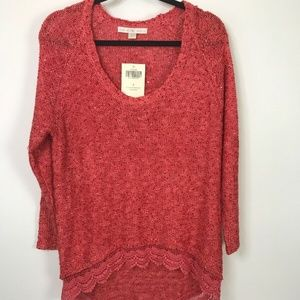 Boston Prosper Womens Coral Sequin Sweater Size S